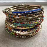 Anthropologie Jewelry   15 Pc Indian Chura Gold Muti Color Bracelet Set   Color: Blue/Gold   Size: Os