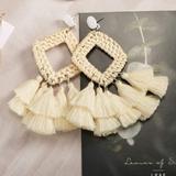 Brandy Melville Jewelry   Betsey Johnson Rattan Wicker Straw Dangle Earrings   Color: Cream/White   Size: Os