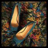 Nine West Shoes   Nine West Suede Peep Toe Heels Sz 6m   Color: Green   Size: 6