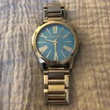 Michael Kors Accessories | Michael Kors Oversized Silver Watch With Blue Face | Color: Blue/Silver | Size: Os