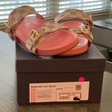 Louis Vuitton Shoes   Louis Vuitton Avon Dia Flat Mule   Color: Gold/Pink/Red   Size: 37.5