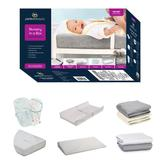 9-Piece Nursery-in-a-Box Newborn Baby Gift Set for Boys and Girls – Set Includes 2 Newborn Swaddles in Changing Pad in 2 Changing Pad Covers in 2 Crib Sheets in Crib Mattress Pad and Crib Wedge - Serta 206310ST-5053