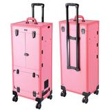 Byootique Professional Rolling Makeup Trolley Cosmetic Case Lockable Studio Light Mirror Large Metal in Pink, Size 37.8125 H x 15.9375 W x 11.0 D in