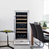 TFCFL 32 Bottle Cooler Wine Cellar Fridge Refrigerator Chiller Dual Zone Touch Control. in Gray, Size 33.5 H x 15.0 W x 24.0 D in | Wayfair 11677