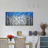 furuyama Textured Forest Abstract Canvas Wall Art Hand Painted Modern Blue Tree Oil Painting For Decoration Canvas & Fabric in Blue/Brown | Wayfair