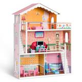 ROFITALL Doll House Playset For Girls, Size 43.89 H x 32.28 W x 11.61 D in | Wayfair RT-WG155