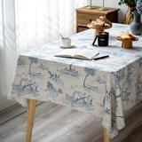 Old Hong Trading Rustic Tablecloth Classic French Village Printed Linen Fabric Table Cover Farmhouse Decoration in Blue, Size 84.0 W x 55.0 D in