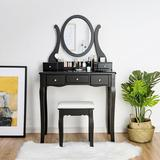 Rosdorf Park Vanity Set w/ Removable Makeup Organizer & Comfortable Cushioned Stools Wood in Black/Brown/Green, Size 54.0 H x 31.5 W x 16.0 D in