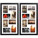 Latitude Run® 4X6 Black Collage Frames Set Of 2, 8 Opening 4X6 Matted Picture Frame Made To Display 16 Multi Photos For Wall Hanging in Black/White