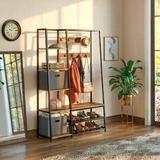 17 Stories Hall Tree w/ Bench & Shoe Storage w/ 2 Foldable Storage Cubes & 9 Coat Hooks Wood/Metal in Black/Brown/Gray | Wayfair