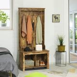Millwood Pines Coat Rack Wooden Hall Tree Storage Organizer Shoe Bench w/ Shoe Rack 4 Hooks For Hallway Or Living Room Wood in Brown | Wayfair