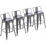 Williston Forge Metal Barstools Set Of 4 Counter Bar Stools w/ Wood Top Low Back Matte Black Wood/Metal in Gray   Wayfair