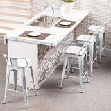 """Williston Forge Metal Barstools Set Of 4 Counter Bar Stools w/ Wood Top Low Back Matte Black Metal in White, Size Counter Stool (26"""" Seat Height)"""