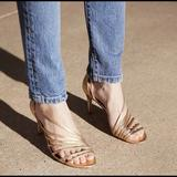 Free People Shoes | Free People Disco Fever Gold Strappy Heel Pumps | Color: Gold | Size: 9.5