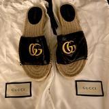Gucci Shoes | Gucci Gg Matelass Canvas Espadrille Sandal | Color: Black/Gold | Size: 5.5