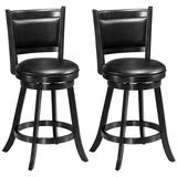 Costway 2 Pieces 24 Inches Swivel Counter Stool Dining Chair Upholstered Seat-Black