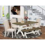 August Grove® BA 5 Pieces Dining Set in, 6 Wood/Upholstered Chairs in Brown/White, Size 30.0 H in | Wayfair 332CB5558DB3489397DD6C86E5875478