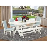 August Grove® 6LA72 6 Pieces Dining Set Wood/Upholstered Chairs in Gray/White, Size 30.0 H in | Wayfair CCE9211895544C748EE4502958B03C3F