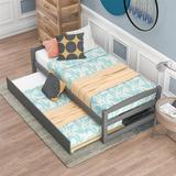 Harriet Bee Twin Size Platform Bed, w/ Two Drawers, Espresso Wood in Gray | Wayfair FEEE1185384C4334A742D4679B7F8F8C