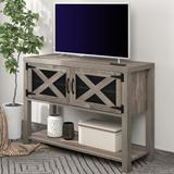 Gracie Oaks TV Stand Wood Metal TV Console Industrial Entertainment Center Farmhouse w/ Storage Cabinets & Shelves Wood in Gray   Wayfair