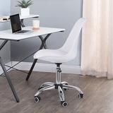 Latitude Run® Adjustable Height Armless Office Chair Aluminum/Upholstered in White, Size 40.4 H x 21.2 W x 21.2 D in | Wayfair