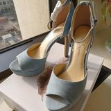 Jessica Simpson Shoes   New Jessica Simpson Blue Denim Platform Heels 7.5   Color: Blue/White   Size: 7.5