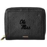 """Women's Fossil Black Ole Miss Rebels Leather Logan RFID Mini Multifunction Wallet"""