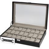 Cas De'Lux Watch Box Organizer Pillow Case 24 Slot w/ Framed Glass Lid Watch Display Case For Men & Women Watch Boxes & Jewelry Case in Black