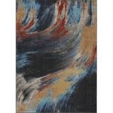 Persian-rugs Lagos Abstract Black/Area Rug Polypropylene in Blue, Size 84.0 H x 60.0 W x 0.5 D in | Wayfair 5577 Multi 5x7
