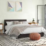 Latitude Run® Dumfries Upholstered Low Profile Platform Bed Faux leather in Gray/White/Brown, Size 36.0 H x 80.0 D in | Wayfair