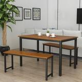 17 Stories 3 Pcs Farmhouse Kitchen Table Set w/ 2 Benches (Beige) Wood/Metal in Black/Brown, Size 28.7 H in | Wayfair