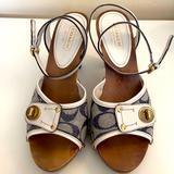 Coach Shoes | Coach Wood Heel Sandals Ankle Strap | Color: Blue/White | Size: 9