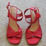 Anthropologie Shoes | Anthroplologie Farylrobin Heeled Sandals | Color: Red | Size: 8