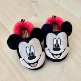 Disney Shoes   Mickey Mouse Fuzzy Sleep Night House Slippers   Color: Black/Red   Size: 9-10