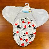 Disney Other | Cudlie Mickey Mouse Minky Swaddler Sac With Velcro | Color: Gray/Red | Size: Osbb