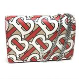 Burberry Bags | Auth Burberry Tb Logo Chain Wallet Coin Card Case | Color: Red/White | Size: W3.9 X H2.8x D1.0inch