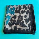 Coach Accessories   Coach Blacklt. & Dark Grayteal Silk Square Scarf   Color: Black/Blue   Size: 35 X 35 (Square)