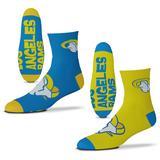 Men's For Bare Feet Los Angeles Rams 2-Pack Team Quarter-Length Socks