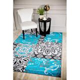 Persian-rugs Geometric Turquoise Area Rug Polypropylene in Blue, Size 120.0 H x 96.0 W x 0.5 D in | Wayfair 3010 Turquoise 8x10