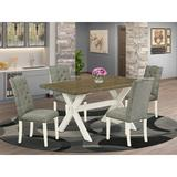 August Grove® EL5 5 Pieces Dining Set Wood/Upholstered Chairs in Brown/White, Size 30.0 H in   Wayfair 6DE201983E2D4FF7B9964A88F7856AD7