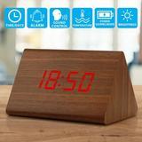 Latitude Run® Modern Triangle Wood Clock Digital LED Wooden Alarm Clocks Digital Desk Thermometer Classical Timer Calendar Wood in Brown   Wayfair