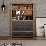 17 Stories 6-Tier Standard Bookcase w/ 3 Shelves & 3 Metal Drawer, Industrial Bookshelf Storage Shelves in Brown, Size 59.4 H x 38.0 W x 13.8 D in