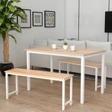 17 Stories 3 Pcs Farmhouse Kitchen Table Set w/ 2 Benches (Beige) Wood/Metal in White/Brown, Size 28.7 H in | Wayfair