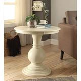 Canora Grey Lanark Accent Table In Antique White Wood in Brown/White, Size 26.0 H x 26.0 W x 26.0 D in | Wayfair 7717116A73834B1F92DEAEF7C6E8B7B4
