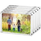 Orren Ellis 4X6 Inches Acrylic Picture Frames- 5 Pack, Desktop Frameless Photo Frames w/ Magnetic, Double Sided Transparent (5 Pack) | Wayfair
