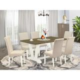 Darby Home Co Hedin 6 - Person Acacia Solid Wood Dining Set Wood/Upholstered Chairs in Brown/White, Size 30.0 H in | Wayfair