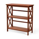 Costway 3-Tier Bookshelf Wooden Open Storage Bookcase for Home Office-Natural