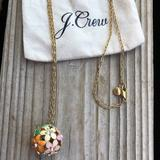 J. Crew Jewelry   J Crew Pastel Colored Enamel Crystal Ball Necklace   Color: Green/Pink   Size: 30 Chain 1 Ball