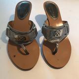 Coach Shoes   Coach Alberta Silver Kitten Heel Thong Sandals   Color: Silver   Size: 7