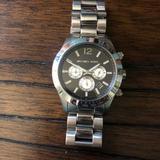 Michael Kors Accessories | Michael Kors Mens Silver Chronograph Watch | Color: Black/Silver | Size: Os